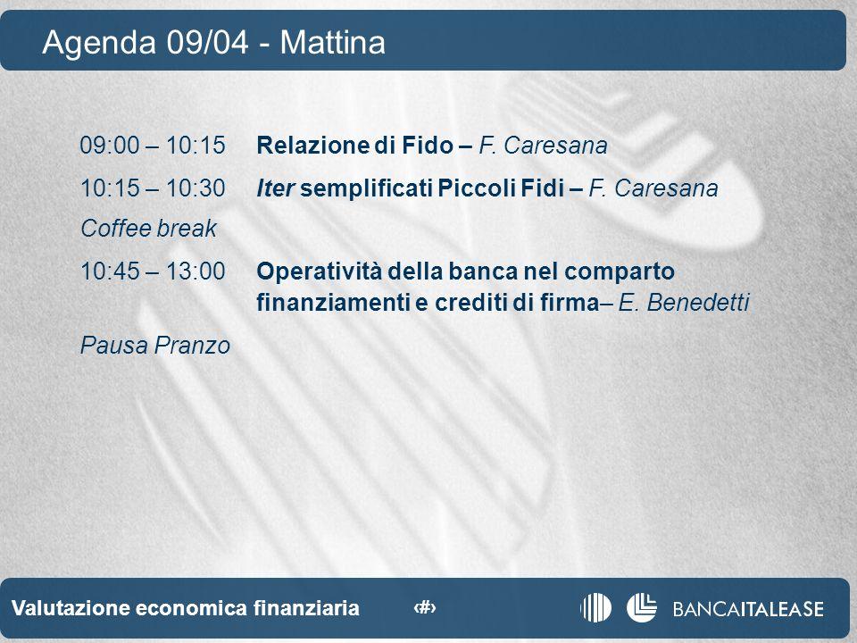 Valutazione economica finanziaria 5 09:00 – 10:15Relazione di Fido – F.