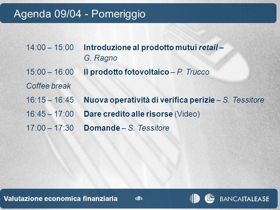 Valutazione economica finanziaria 6 14:00 – 15:00Introduzione al prodotto mutui retail – G.