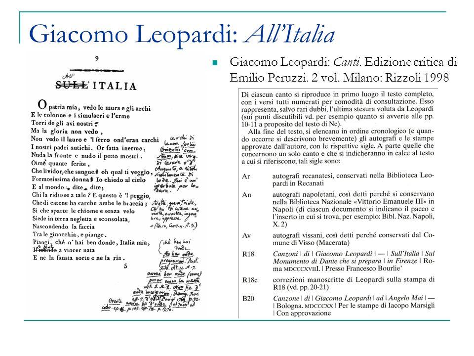 Giacomo Leopardi: AllItalia Giacomo Leopardi: Canti.