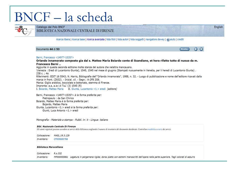 BNCF – la scheda