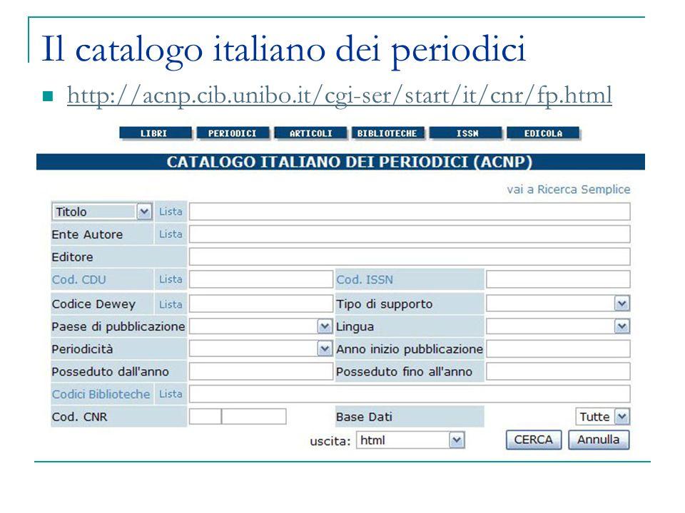 Il catalogo italiano dei periodici http://acnp.cib.unibo.it/cgi-ser/start/it/cnr/fp.html