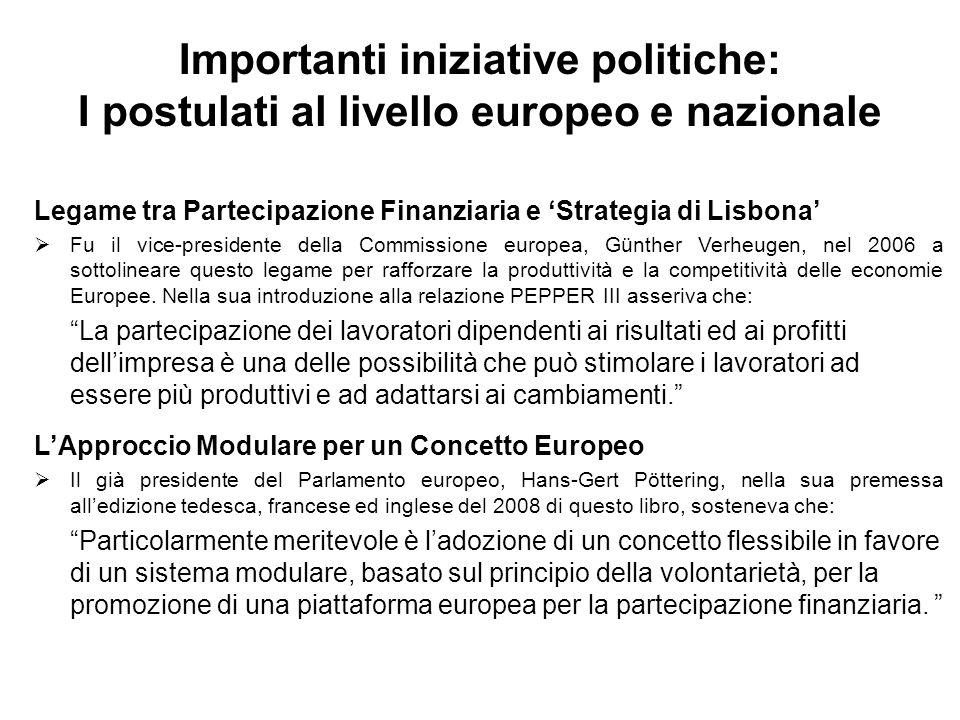 Importanti iniziative politiche: I postulati al livello europeo e nazionale Legame tra Partecipazione Finanziaria e Strategia di Lisbona Fu il vice-presidente della Commissione europea, Günther Verheugen, nel 2006 a sottolineare questo legame per rafforzare la produttività e la competitività delle economie Europee.