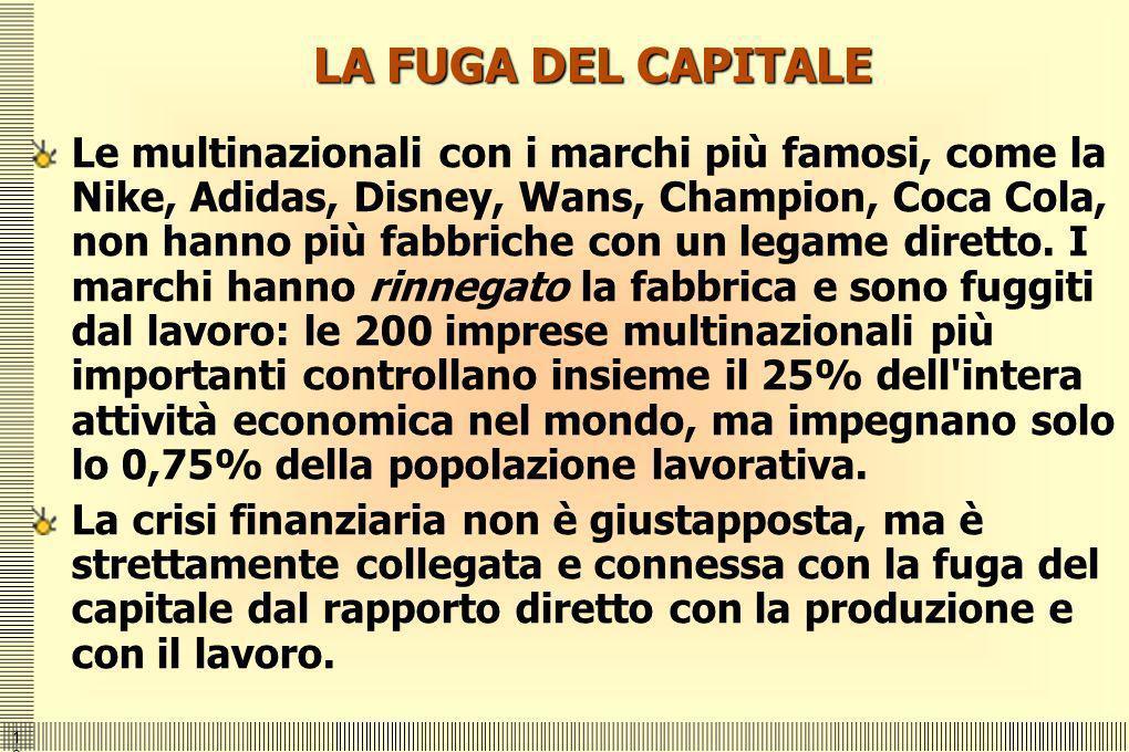 1313 LA FUGA DEL CAPITALE Le multinazionali con i marchi più famosi, come la Nike, Adidas, Disney, Wans, Champion, Coca Cola, non hanno più fabbriche