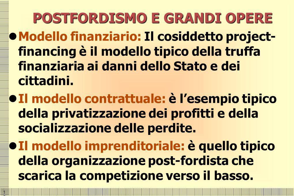1616 POSTFORDISMO E GRANDI OPERE Modello finanziario: Il cosiddetto project- financing è il modello tipico della truffa finanziaria ai danni dello Sta