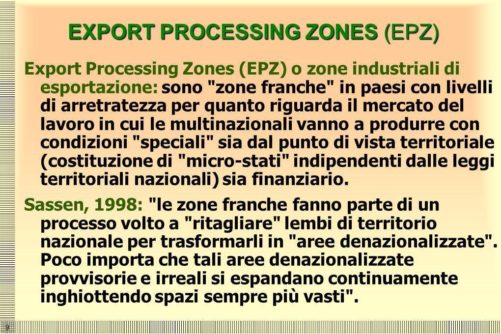 9 EXPORT PROCESSING ZONES (EPZ) Export Processing Zones (EPZ) o zone industriali di esportazione: sono