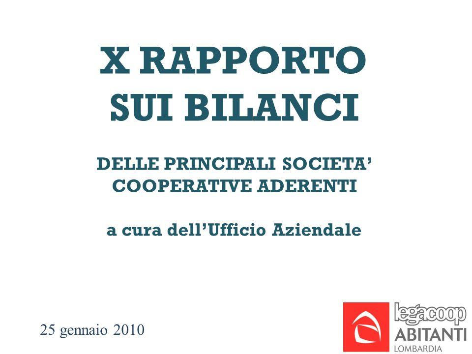 25 gennaio 2010 X RAPPORTO SUI BILANCI DELLE PRINCIPALI SOCIETA COOPERATIVE ADERENTI a cura dellUfficio Aziendale
