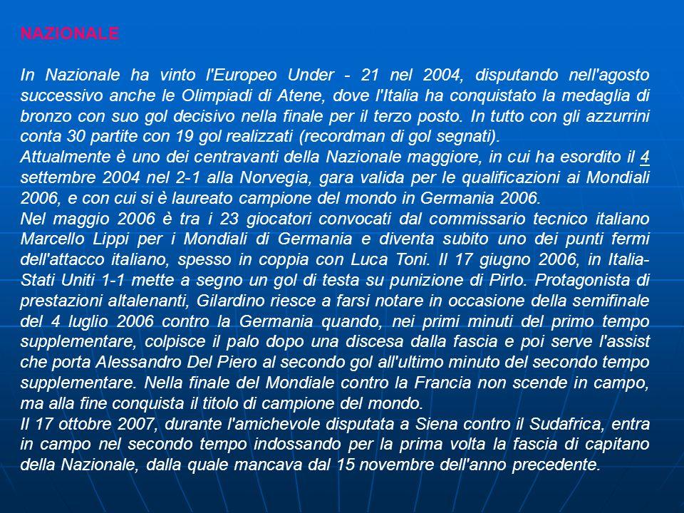 NAZIONALE In Nazionale ha vinto l'Europeo Under - 21 nel 2004, disputando nell'agosto successivo anche le Olimpiadi di Atene, dove l'Italia ha conquis