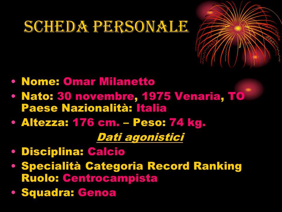 Scheda personale Nome: Omar Milanetto Nato: 30 novembre, 1975 Venaria, TO Paese Nazionalità: Italia Altezza: 176 cm. – Peso: 74 kg. Dati agonistici Di
