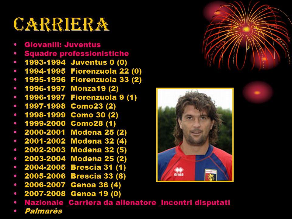 carriera Giovanili: Juventus Squadre professionistiche 1993-1994 Juventus 0 (0) 1994-1995 Fiorenzuola 22 (0) 1995-1996 Fiorenzuola 33 (2) 1996-1997 Mo