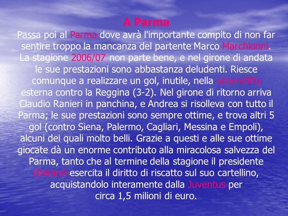A Parma Passa poi al Parma dove avrà l'importante compito di non far sentire troppo la mancanza del partente Marco Marchionni. La stagione 2006/07 non