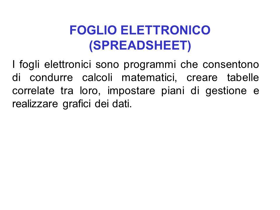 FOGLIO ELETTRONICO (SPREADSHEET) I fogli elettronici sono programmi che consentono di condurre calcoli matematici, creare tabelle correlate tra loro,
