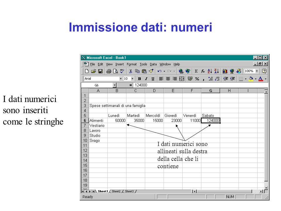 Immissione dati: numeri I dati numerici sono inseriti come le stringhe I dati numerici sono allineati sulla destra della cella che li contiene