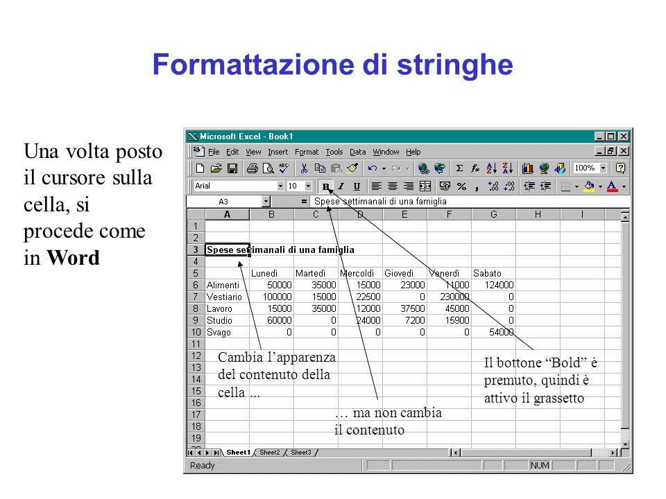 Formattazione di stringhe Una volta posto il cursore sulla cella, si procede come in Word Il bottone Bold è premuto, quindi è attivo il grassetto Camb