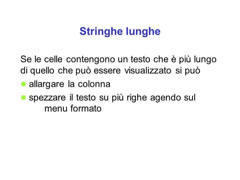 Stringhe lunghe Se le celle contengono un testo che è più lungo di quello che può essere visualizzato si può allargare la colonna spezzare il testo su