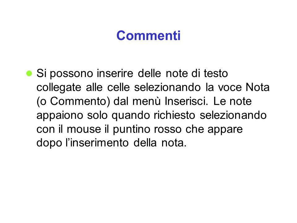 Commenti Si possono inserire delle note di testo collegate alle celle selezionando la voce Nota (o Commento) dal menù Inserisci. Le note appaiono solo