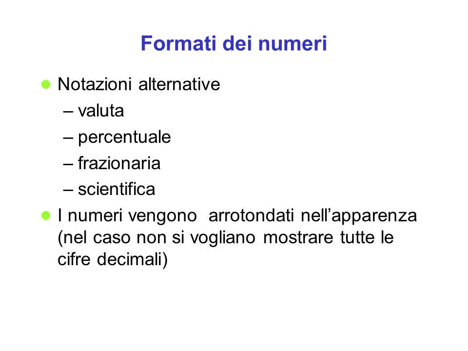 Formati dei numeri Notazioni alternative –valuta –percentuale –frazionaria –scientifica I numeri vengono arrotondati nellapparenza (nel caso non si vo