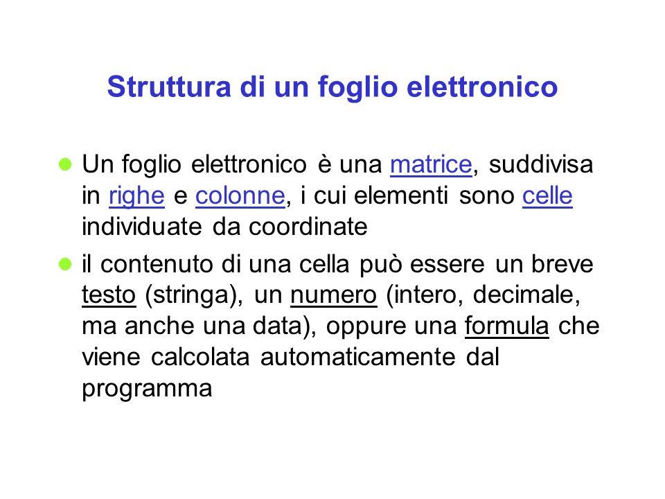 Struttura di un foglio elettronico Un foglio elettronico è una matrice, suddivisa in righe e colonne, i cui elementi sono celle individuate da coordin