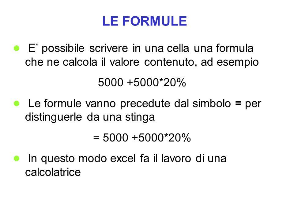 LE FORMULE E possibile scrivere in una cella una formula che ne calcola il valore contenuto, ad esempio 5000 +5000*20% Le formule vanno precedute dal