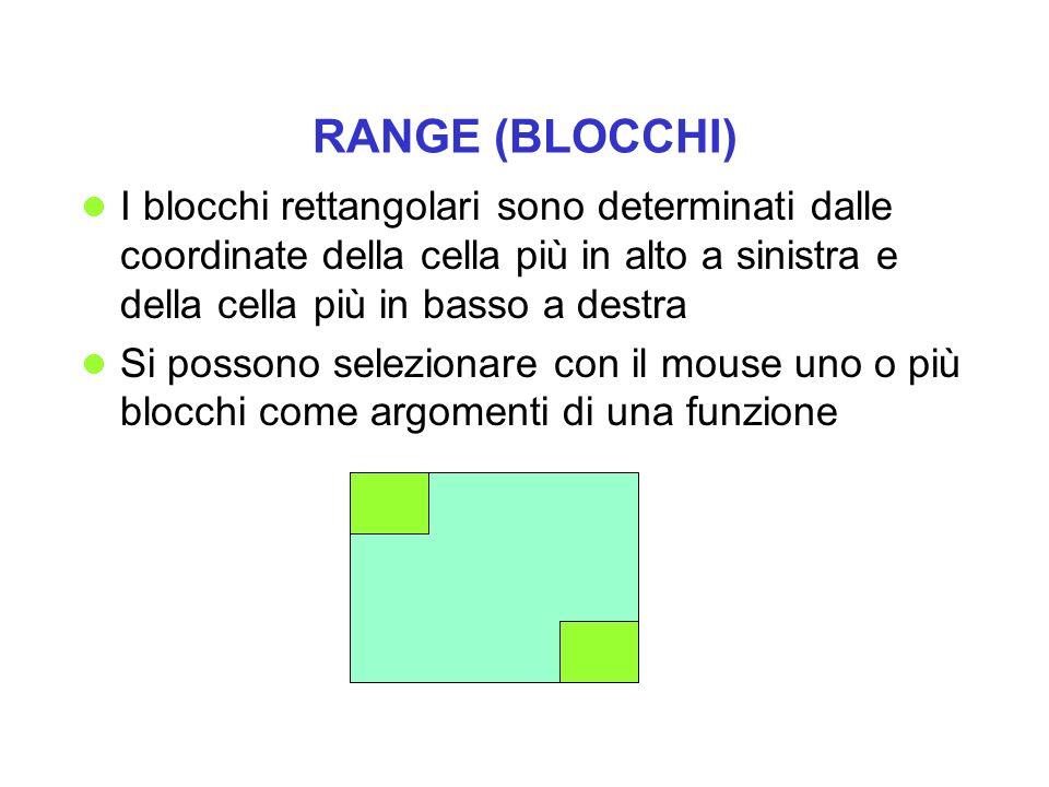 RANGE (BLOCCHI) I blocchi rettangolari sono determinati dalle coordinate della cella più in alto a sinistra e della cella più in basso a destra Si pos