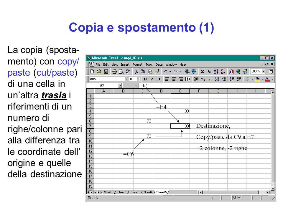Copia e spostamento (1) La copia (sposta- mento) con copy/ paste (cut/paste) di una cella in unaltra trasla i riferimenti di un numero di righe/colonn