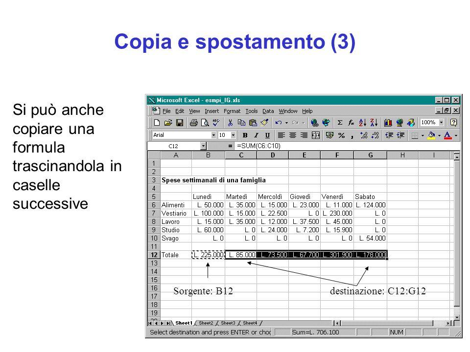 Copia e spostamento (3) Si può anche copiare una formula trascinandola in caselle successive Sorgente: B12destinazione: C12:G12