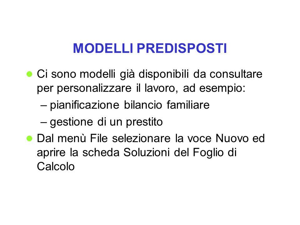 MODELLI PREDISPOSTI Ci sono modelli già disponibili da consultare per personalizzare il lavoro, ad esempio: –pianificazione bilancio familiare –gestio
