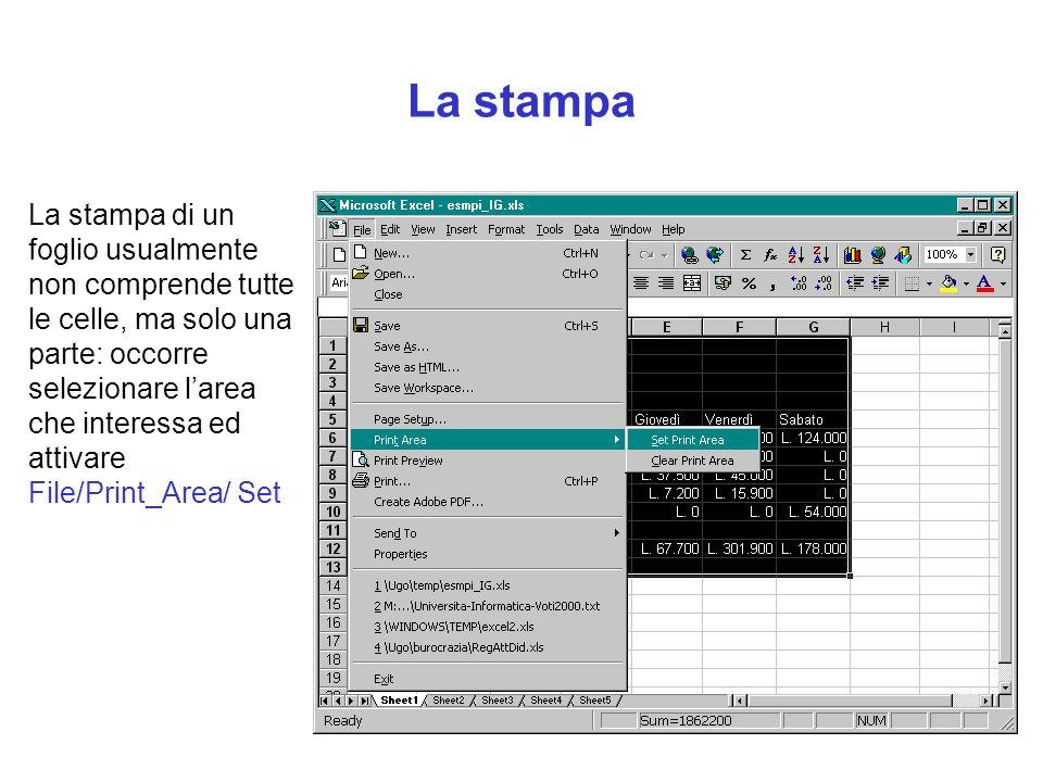 La stampa La stampa di un foglio usualmente non comprende tutte le celle, ma solo una parte: occorre selezionare larea che interessa ed attivare File/