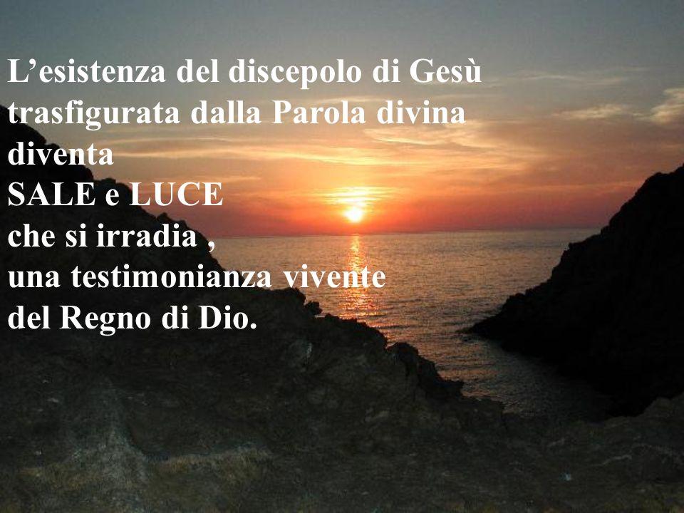 Lesistenza del discepolo di Gesù trasfigurata dalla Parola divina diventa SALE e LUCE che si irradia, una testimonianza vivente del Regno di Dio.