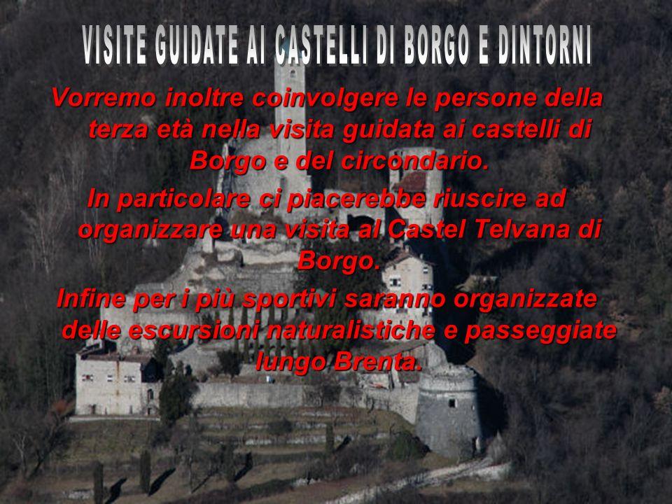 Vorremo inoltre coinvolgere le persone della terza età nella visita guidata ai castelli di Borgo e del circondario. In particolare ci piacerebbe riusc