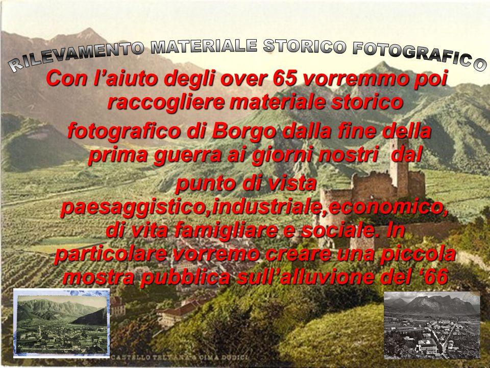 Con laiuto degli over 65 vorremmo poi raccogliere materiale storico fotografico di Borgo dalla fine della prima guerra ai giorni nostri dal fotografic