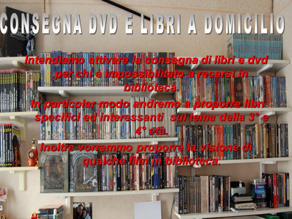Intendiamo attivare la consegna di libri e dvd per chi è impossibilitato a recarsi in biblioteca. In particolar modo andremo a proporre libri specific