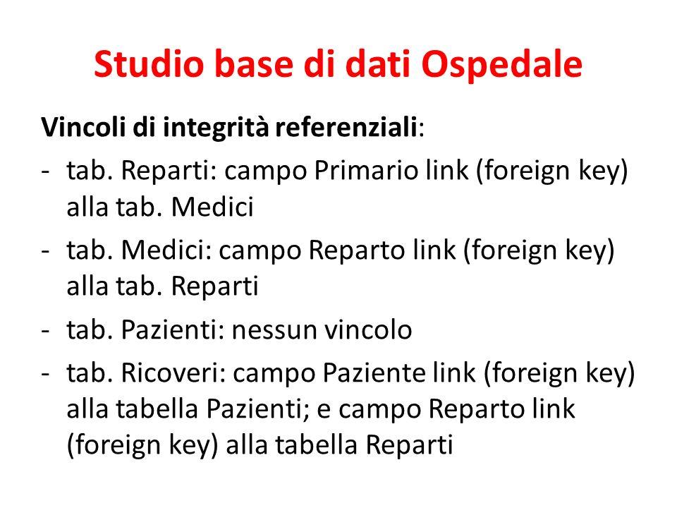 Studio base di dati Ospedale Vincoli di integrità referenziali: -tab.