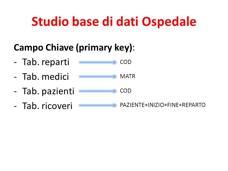 Studio base di dati Ospedale Campo Chiave (primary key): -Tab.