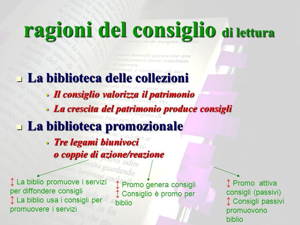 ragioni del consiglio di lettura La biblioteca delle collezioni La biblioteca delle collezioni Il consiglio valorizza il patrimonio Il consiglio valor