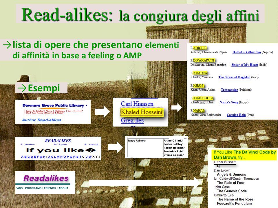Read-alikes: la congiura degli affini lista di opere che presentano elementi di affinità in base a feeling o AMP Esempi