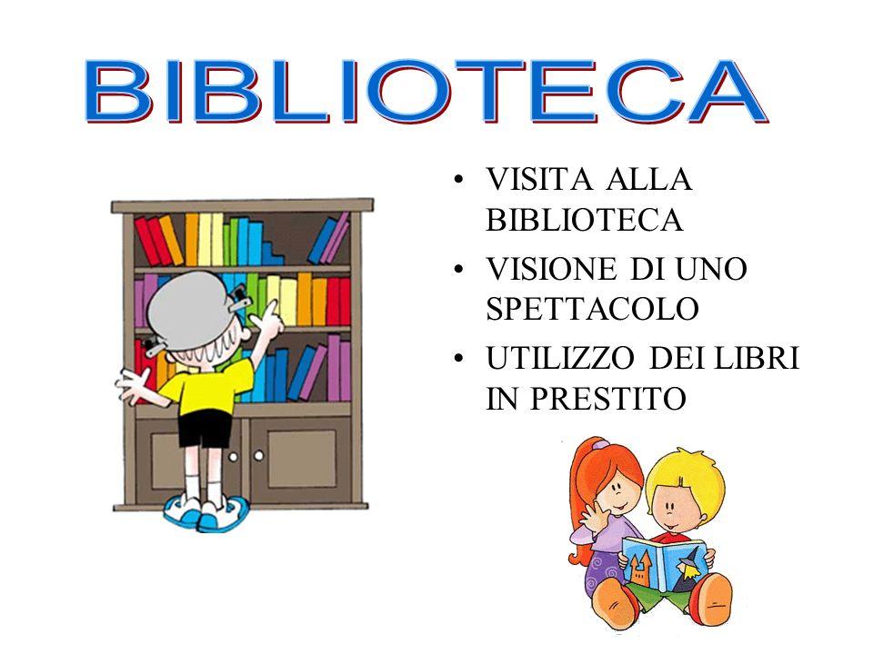 VISITA ALLA BIBLIOTECA VISIONE DI UNO SPETTACOLO UTILIZZO DEI LIBRI IN PRESTITO