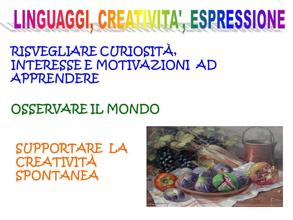 OSSERVARE IL MONDO RISVEGLIARE CURIOSITÀ, INTERESSE E MOTIVAZIONI AD APPRENDERE SUPPORTARE LA CREATIVITÀ SPONTANEA