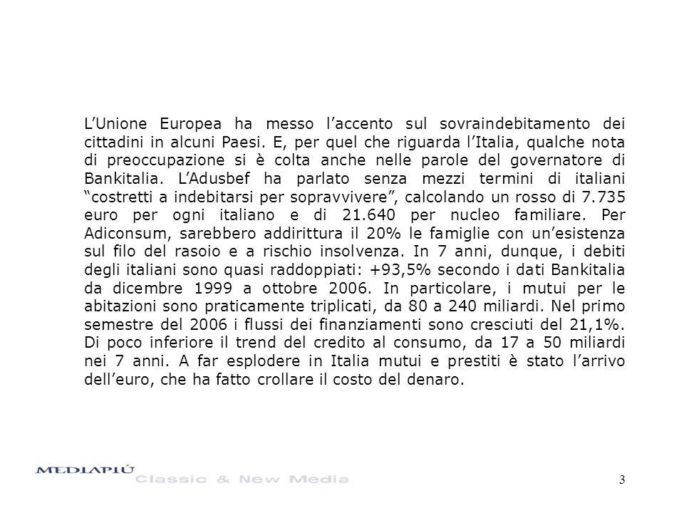 4 Gli italiani stanno cambiando mentalità e diventando più cicale oppure le famiglie non risparmiano più perché non riescono neppure ad arrivare a fine mese con quel che guadagnano, tanto da dover ricorrere ai prestiti.