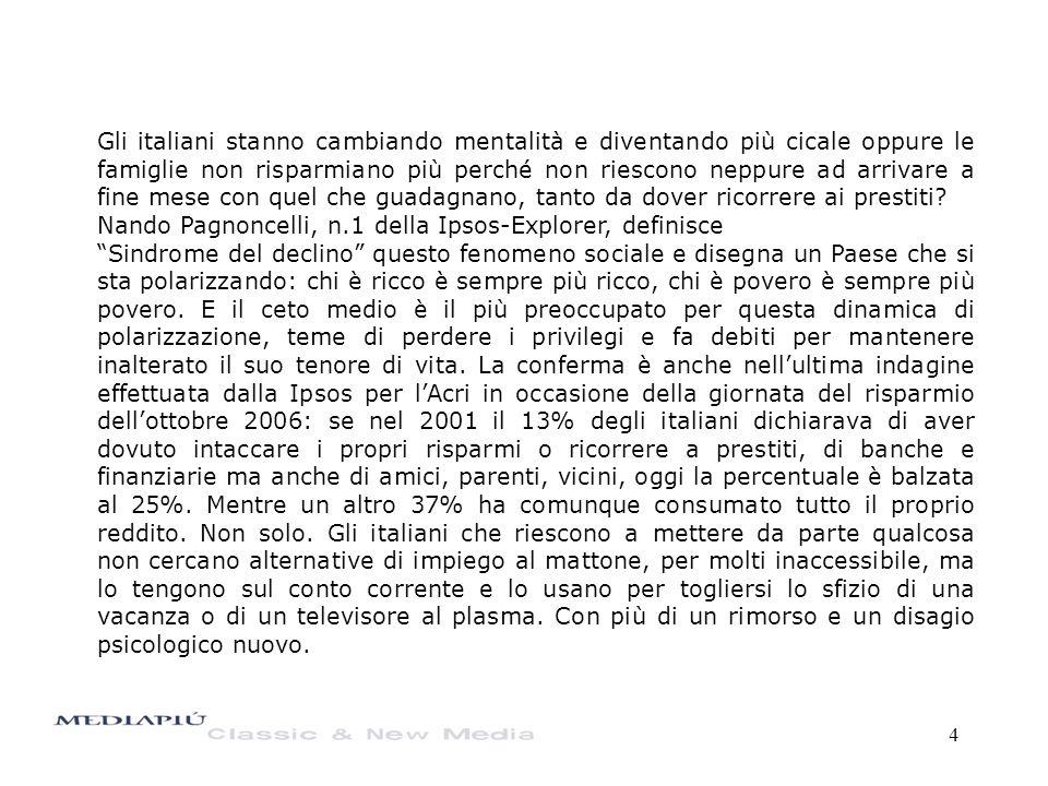4 Gli italiani stanno cambiando mentalità e diventando più cicale oppure le famiglie non risparmiano più perché non riescono neppure ad arrivare a fin