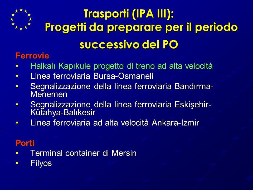 Trasporti (IPA III): Progetti da preparare per il periodo successivo del PO Ferrovie Halkalı Kapıkule progetto di treno ad alta velocitàHalkalı Kapıku