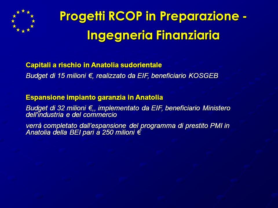 Progetti RCOP in Preparazione - Ingegneria Finanziaria Capitali a rischio in Anatolia sudorientale Budget di 15 milioni, realizzato da EIF, beneficiar