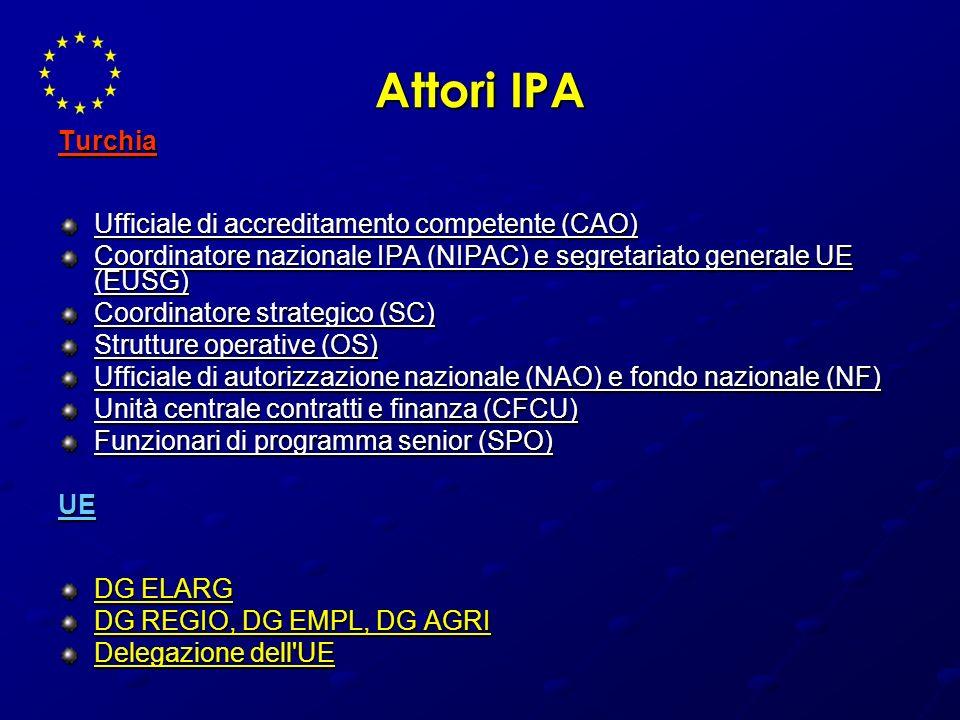Attori IPA Turchia Ufficiale di accreditamento competente (CAO) Coordinatore nazionale IPA (NIPAC) e segretariato generale UE (EUSG) Coordinatore stra