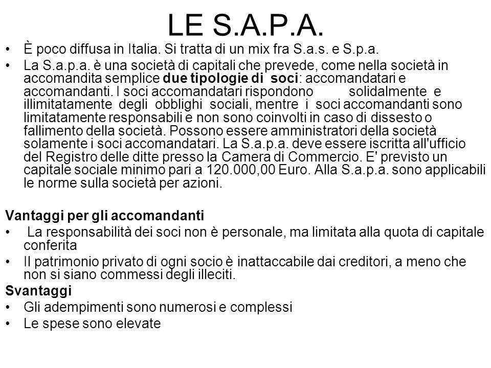 LE S.A.P.A. È poco diffusa in Italia. Si tratta di un mix fra S.a.s. e S.p.a. La S.a.p.a. è una società di capitali che prevede, come nella società in