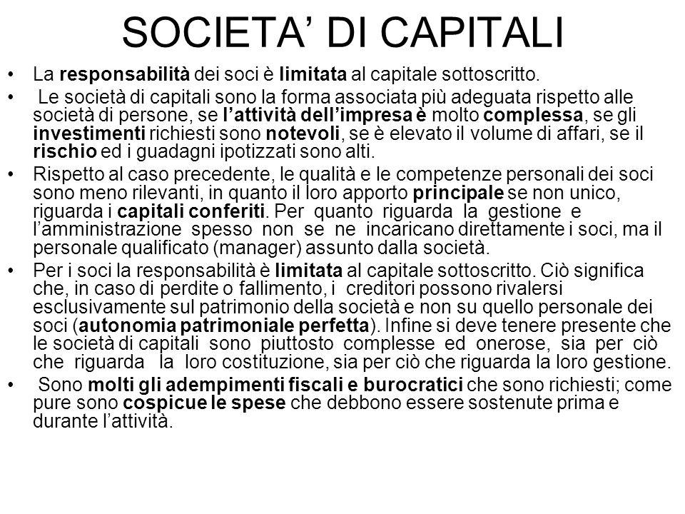SOCIETA DI CAPITALI La responsabilità dei soci è limitata al capitale sottoscritto. Le società di capitali sono la forma associata più adeguata rispet