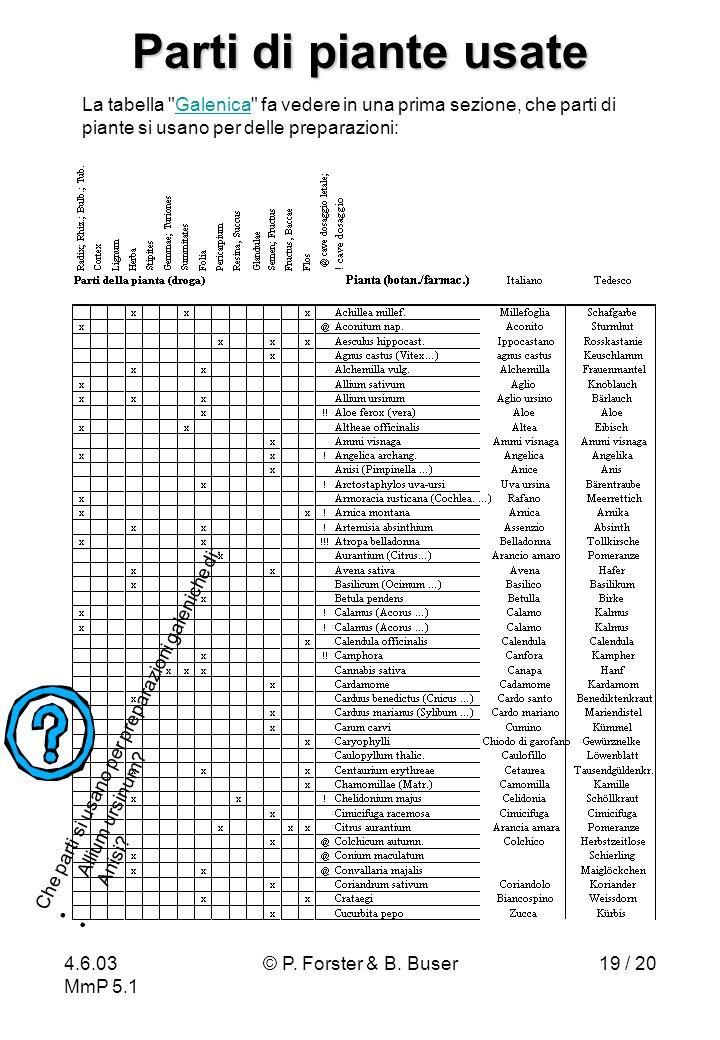 4.6.03 MmP 5.1 © P. Forster & B. Buser19 / 20 Parti di piante usate La tabella