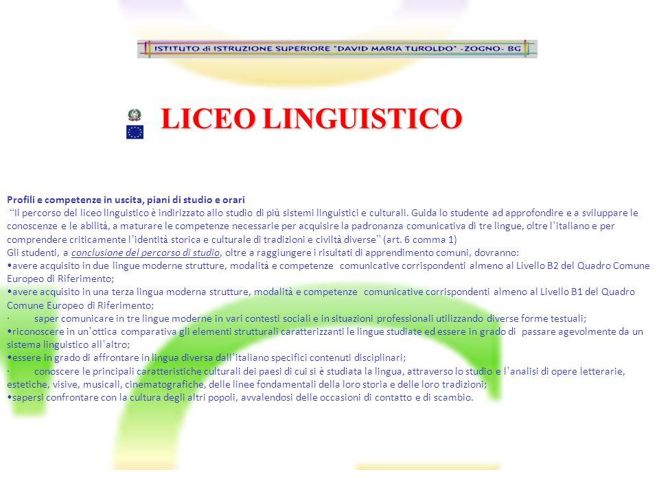 LICEO LINGUISTICO Profili e competenze in uscita, piani di studio e orari Il percorso del liceo linguistico è indirizzato allo studio di pi ù sistemi