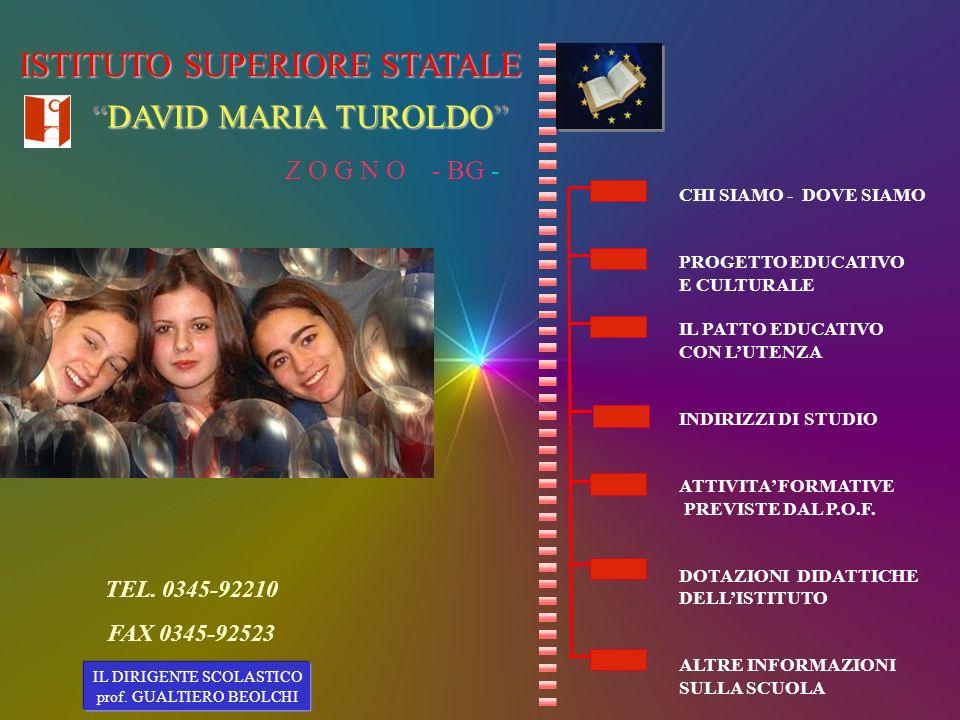 Il nostro Istituto ha assunto la denominazione di Istituto di Istruzione Superiore David Maria Turoldo, perché ci riconosciamo negli alti valori a cui egli aveva improntato la propria vita, fatta di attenzione per gli altri, impegno per la pace e la giustizia, amore per la poesia.