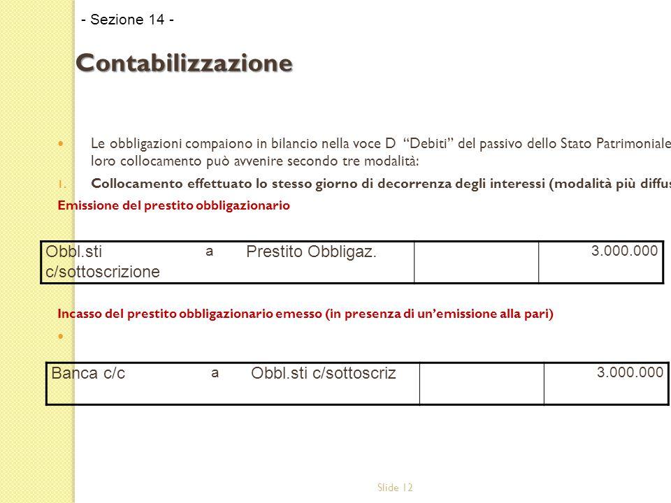 Slide 12 Le obbligazioni compaiono in bilancio nella voce D Debiti del passivo dello Stato Patrimoniale.