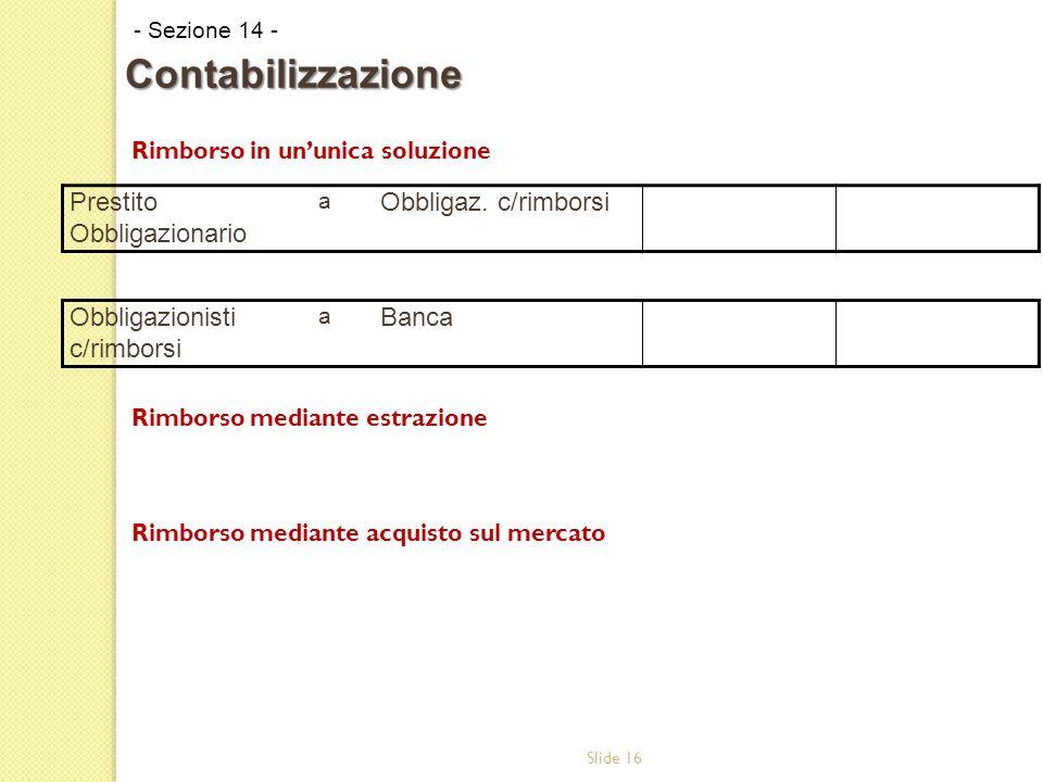 Slide 16 Rimborso in ununica soluzione Rimborso mediante estrazione Rimborso mediante acquisto sul mercato - Sezione 14 - Contabilizzazione Prestito Obbligazionario a Obbligaz.