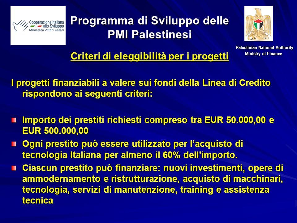 Nuovo criterio di eleggibilità: Grandi progetti dinvestimento Il CLSC può approvare il finanziamento di un numero ristretto di grandi progetti di investimento (importo superiore a EUR 500.000,00), in base al loro potenziale impatto positivo sullo sviluppo economico Palestinese.